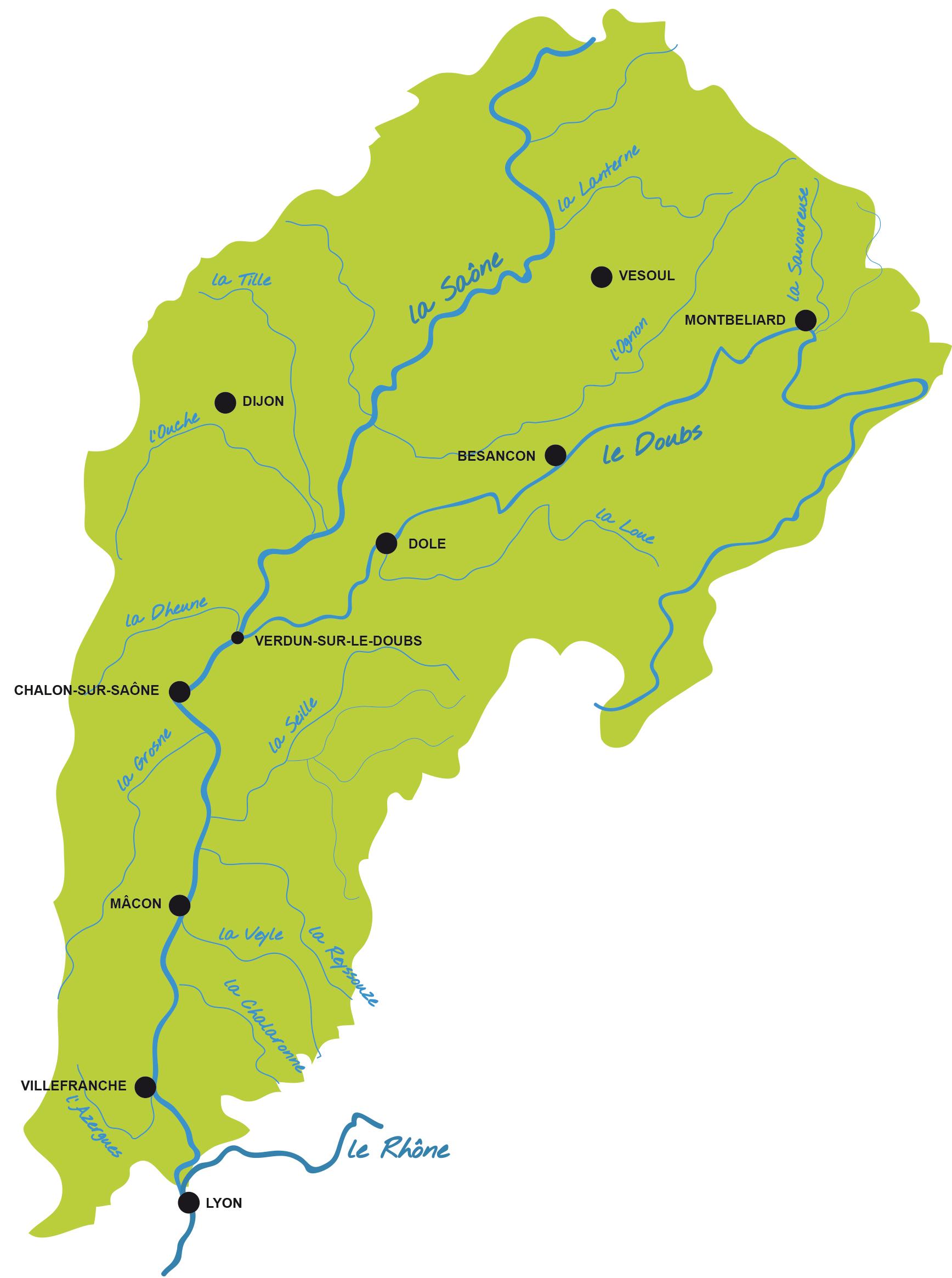 Le bassin de la Saône et ses affluents